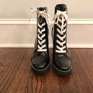 Black patent-leather lace up boots